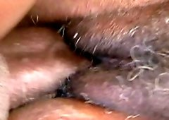 Black cutie Ms Townsend gets her hairy pussy banged in different poses