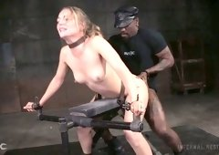 Handcuffed obedient slut Mona Wales gets nailed brutally by studs (FMM)