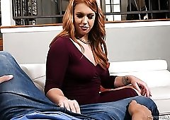Fabulous redhead Edyn Blair gets really interested in sucking tasty dick