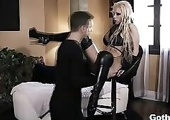 Goth beauty Barbie Sins spreads her pussy and ass