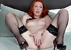 Hot steamy redhead MILF playing with herself