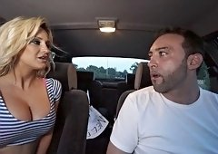Amazing blonde bimbo hitchhiker takes a cock ride