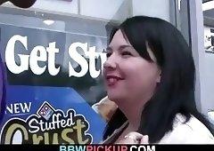 Huge boobs plumper swallows black meat