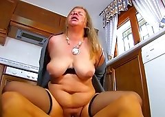 Fat mature in stockings can barely handle his stiff shaft