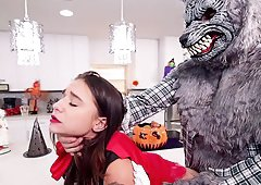 Guy in a Halloween costume gives Kharlie an unforgettable pounding
