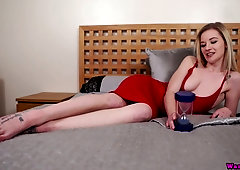 Lady in red Gracie gets naked and plays with her pussy and saggy empty tits