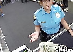 Slutty policewoman fucks with pawnbroker for extra money