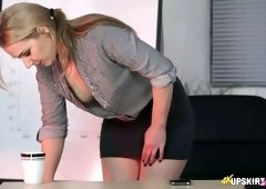 Attractive office slut Aston Wilde and her perky hard nipples