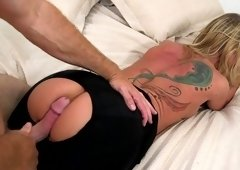 Woman in black got fucked from behind