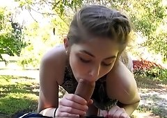 Teen Kobi Brian pov working on stranger's cock in the the park for cash
