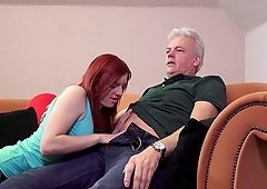 Redhead Vanessa Shelby enjoys on top of her mature lover Ronald