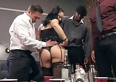 Whore wife Kristina Rose takes part in hardcore interracial gangbang