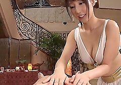 Gorgeous Japanese bombshell Ayami Shunka oils up a cock before fucking