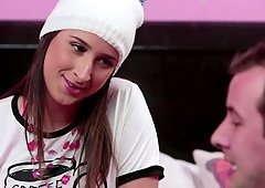 Cute and flirty Ashley Adams takes on his dick with passion