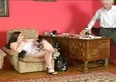 Fat Swedish girl gets fucked hard on a sofa by boss