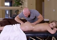 Oiled up honey Harley Jade fucked hard by a handsome masseur