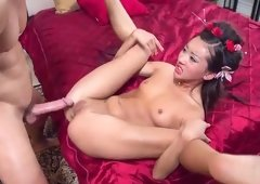 Oriental brunette Alina Li is acting in porno