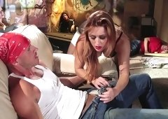 Passionate woman is riding a huge dick
