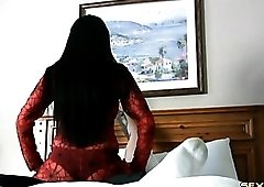 Red body stocking on a sex lap dancing girl