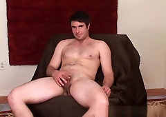 Big str8 beefy ex pro athlete gets his first cock sucking from an