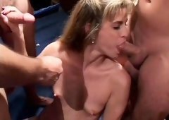 Trashy cocksucking babes compete to see who gives the best head