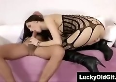 Cute young babe in stockings fucked by older British guy