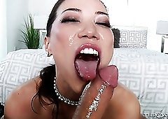 Nicely shaped nympho Kalina Ryu is a good cock sucker who loves eating cum