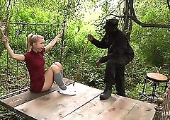 Pallid chick Alina West gets tied up and mouthfucked by lewd black cop