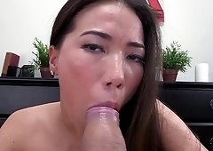 Asian Lily Ocean strokes & gives blowjob in pov