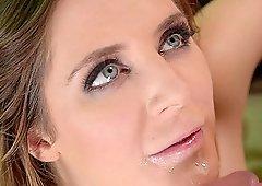 Samantha Bentley gives intense eye contact as she swallows cum