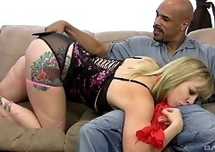 Interracial one on one with Adrianna Nicole loving that BBC