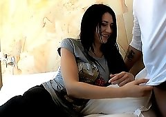 Tattooed girl Erika Bellucci moans while a neighbor bangs her