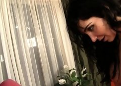 Stacked brunette mom Diana Prince gets banged by Christian on the sofa