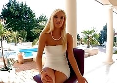 Outdoor backstage interview with blonde Candee Licious