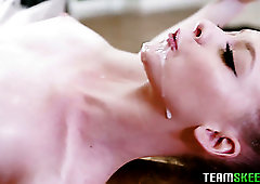 Alluring ballerina in white tutu Athena Rayne gets pink slit stretched well