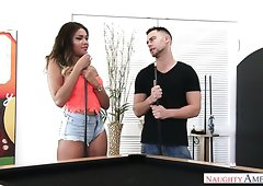 Perfectly shaped Cassidy Banks screwed missionary style on a pool table
