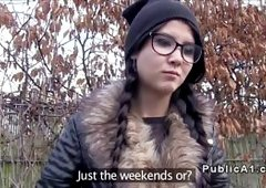 Beautiful brunette amateur hottie from Europe takes cash from fake agent in public and then sucks his hige dick pov and fucks him in hidden spot