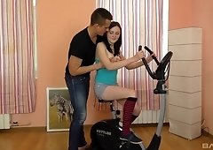 Brunette in socks Kiara Gold gets interrupted while working out