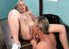 Young blonde Brittney Alexander gets pounded over the physician's desk
