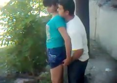Nasty girlfriend lifts her skirt up for outdoor quickie