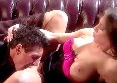 Kinky Rachel RoXXX lets a friend fuck her hard on the couch