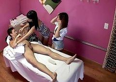 Asia Zo and Layla Mynxx works extra in massaging salon