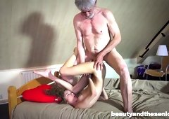 Old fart fucks pretty brunette Rebel Lynn and licks her hungry hole