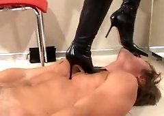 Femdom gives an sloppy bj after cropping & stomping slave
