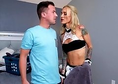 Blonde maid gets her slutty face cumsprayed after a great fuck