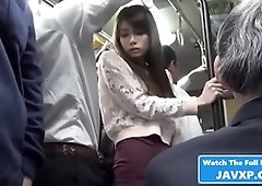 Japanese babe fucked in the Bus