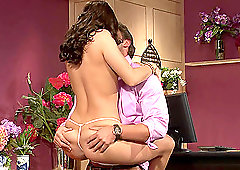 Classy MILF brunette in high heels Gracie Glam missionary fucked hard