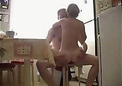 Wife Tanja eat my cum in our kitchen
