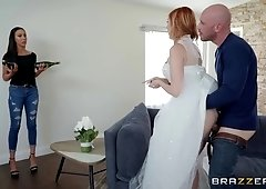 Redhead bride Lauren Phillips fucks hard in her wedding dress