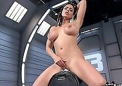 Huge tits solo brunette rides machine